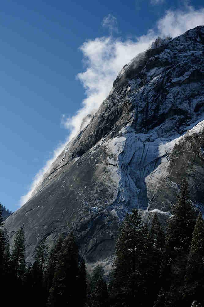 Snow capped granite peak in Yosemite