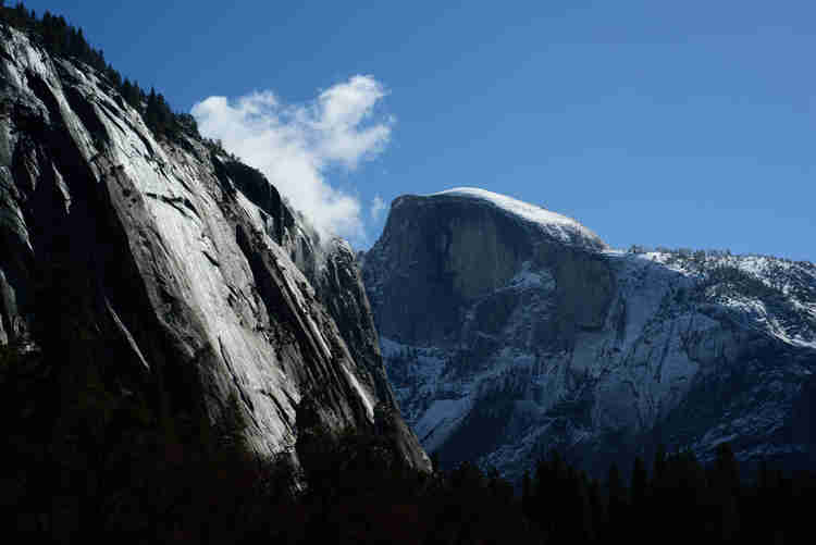 Snow capped Half Dome in Yosemite National Park