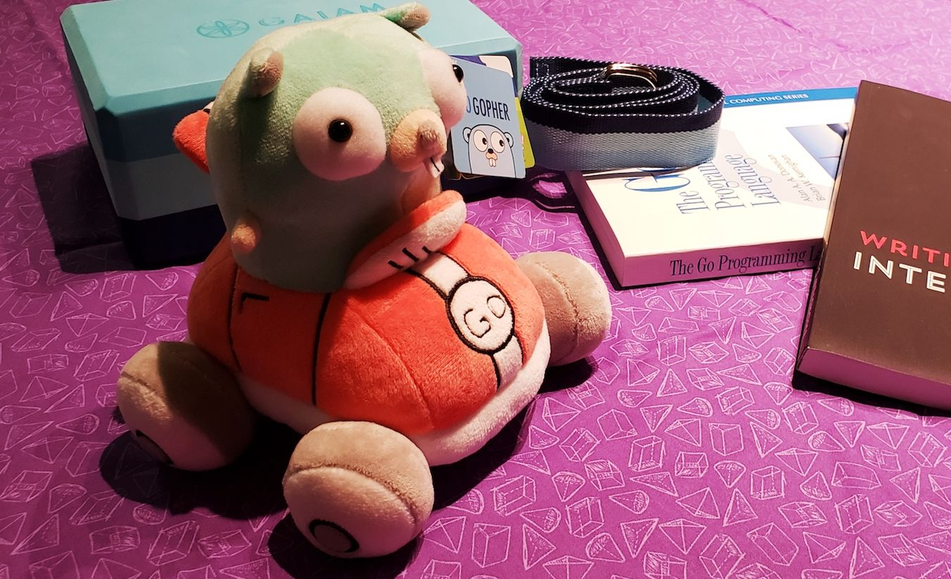 Plush Gopher, Golang related books, and yoga block