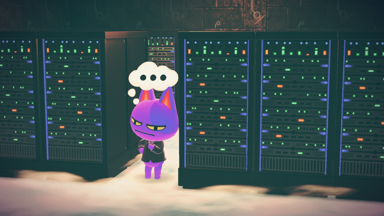 Screenshot of Animal Crossing character Bob in front of servers