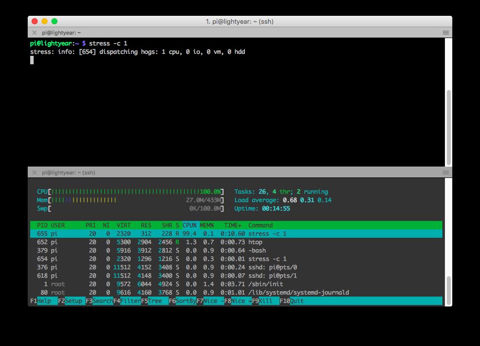 Raspberry Pi Zero terminal running the stress command