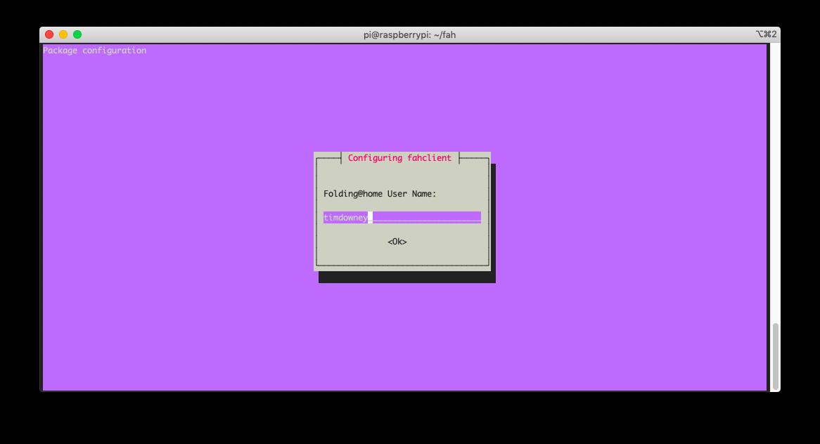 Screenshot of a terminal installing Folding@Home on a Raspberry Pi