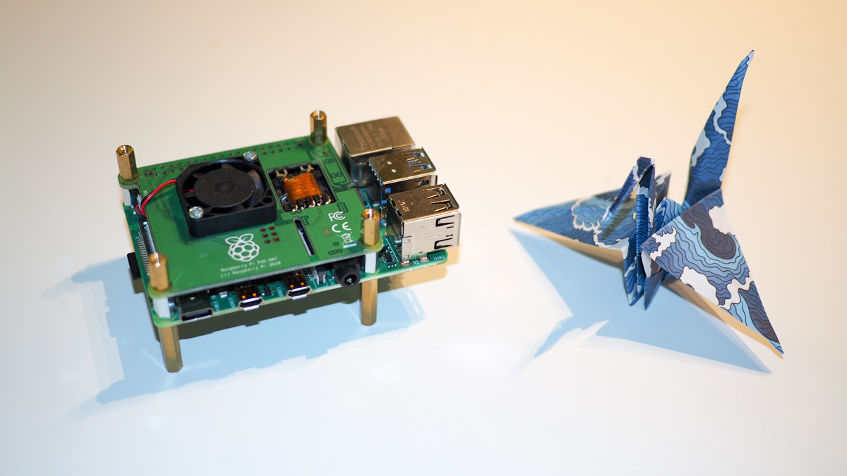 Raspberry Pi 4B with PoE Hat and paper origami crane
