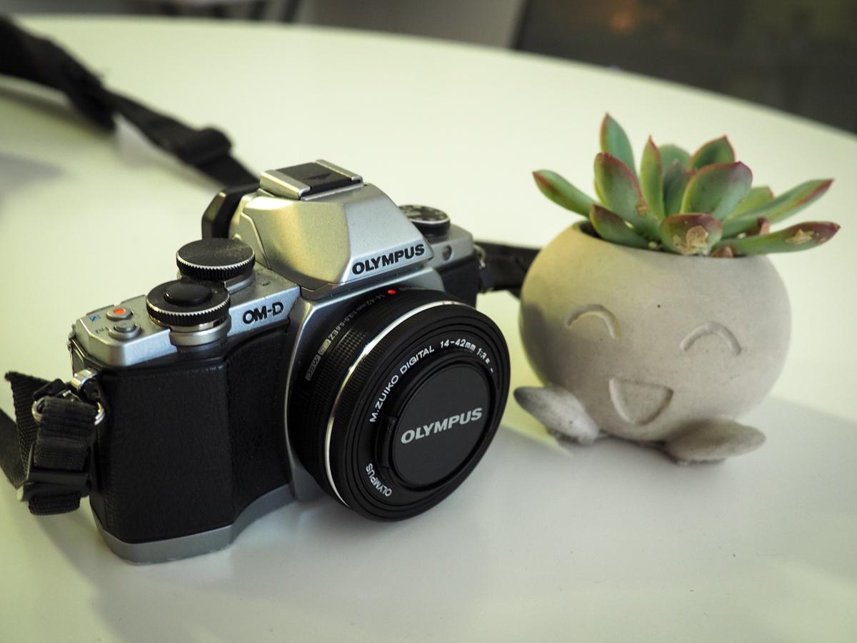 Olympus OM-D E-M10 Mark I camera with concrete Oddish planter