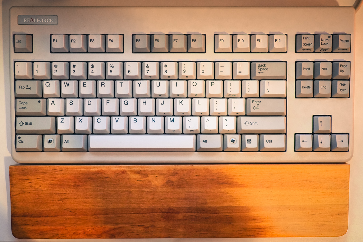 Realforce Keyboard with Wooden Palm Rest