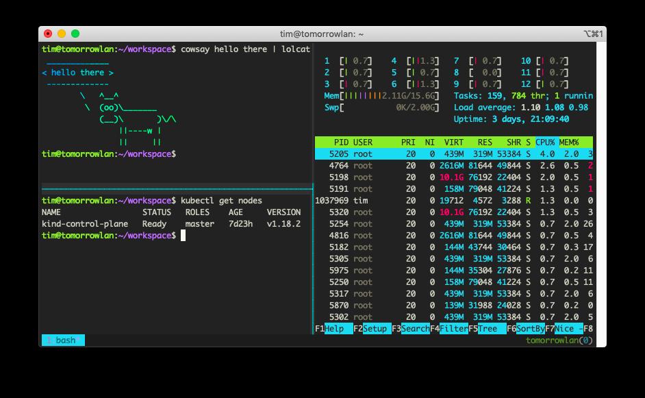 Screenshot of an iTerm2 terminal using tmux